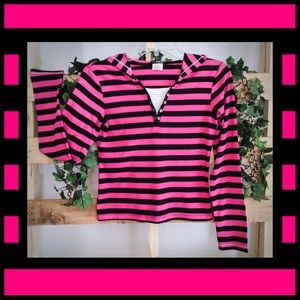 One Step Up Hooded Striped Henley Top